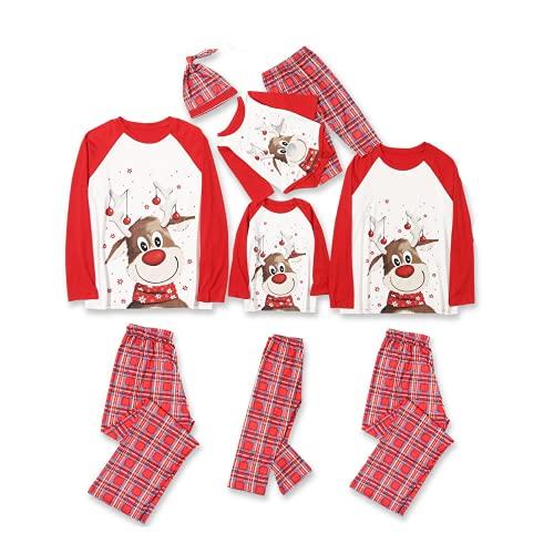 2021 Pijamas de Navidad Familia Conjunto Pantalon y Top Pijamas Mujer Hombre Impresión a cuadros Invierno Manga Larga Ropa de Dormir 2 Piezas Niños Niña Bebés Mamá Papá Romper Homewear