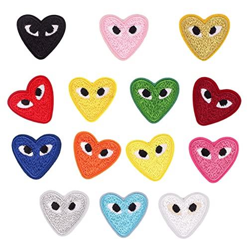 Sepeun Parches de hierro para ropa, parches de apliques para niños adultos, elegantes parches bordados en forma de corazón para mochilas, chaquetas, jeans, camiseta (14)