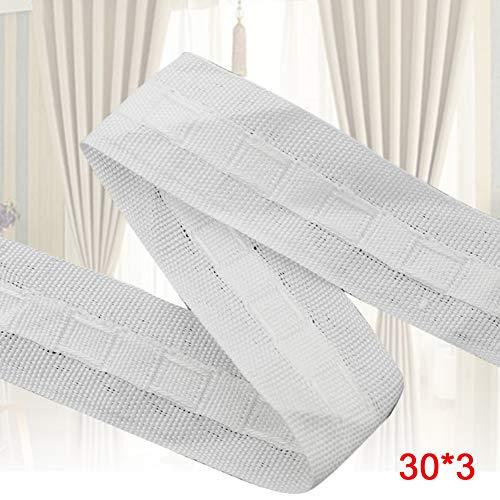 Cinta para cabecera de cortina, 30 m x 3 cm, tela de giro estrecha, sin olor, fuerte dureza, plisado, para manualidades para el hogar