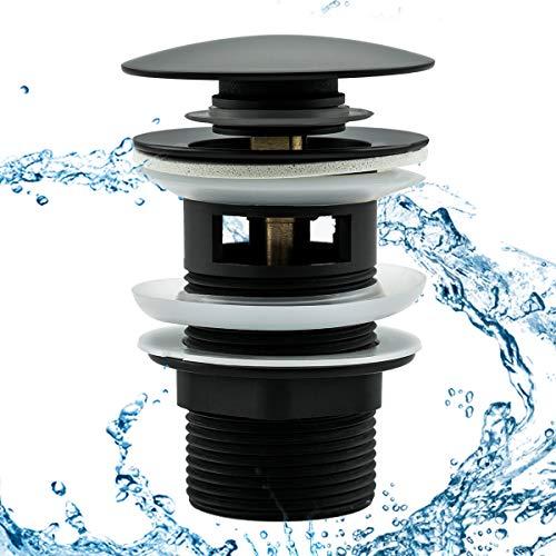 Frap Universal Ablaufgarnitur für Waschbecken/Waschtisch Pop-Up Ventil mit/ohne Überlauf, Abflussstopfen für Waschbecken, Abflussgarnitur Werkzeugloser Einbau, Schwarz