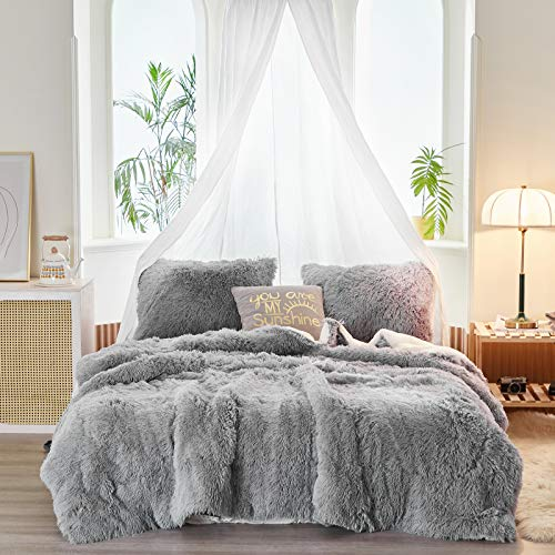 Uozzi Bedding Faux Fur Comforter Set Twin 3 Pieces - 1 Comforter Set and 2 Pillowcases, Ultra Soft and Easy Care Luxury Plush Shaggy Duvet Set (Light - Grey)