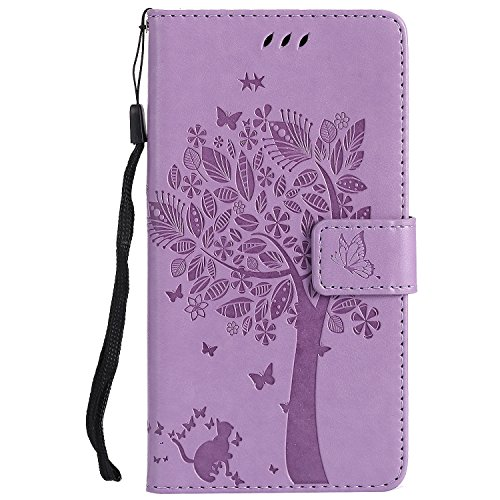 WindTeco Motorola MOTO G4 Case, Bookstyle Tree Cat Butterfly Leather Wallet Flip Case Stand Cover Magnetic Clasp with Card Slots Protective Shell for Lenovo Motorola MOTO G4, Light Purple