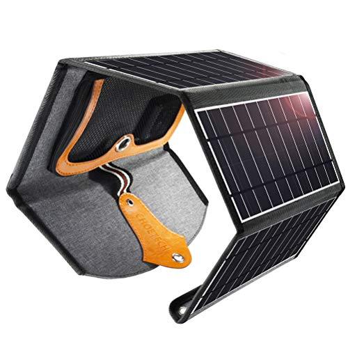 CHOETECH Cargador Solar, 22W Panel Solar Cargador Portátil Impermeable Placa Solar Power Bank Compatible con Teléfonos Samsung, iPhone, Huawei, iPad, Altavoz, Cámara, Tableta, Altavoz Bluetooth etc.