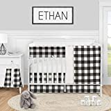 Sweet Jojo Designs Buffalo Plaid Check Baby Boy or Girl Nursery Crib Bedding Set - 5 Pieces - Black and White Rustic Woodland Flannel Country Lumberjack