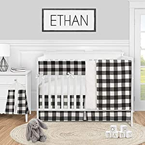 Sweet Jojo Designs Buffalo Plaid Check Baby Boy or Girl Nursery Crib Bedding Set – 5 Pieces – Black and White Rustic Woodland Flannel Country Lumberjack