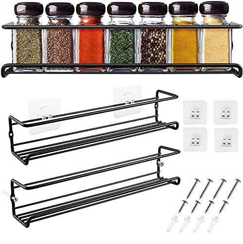 DazSpirit Especiero de Cocina, Especiero Extraible de Pared Estante para Autoadhesivo, Dos Organizador de Especias Metal Negro 29 x 6,35 x 6 cm