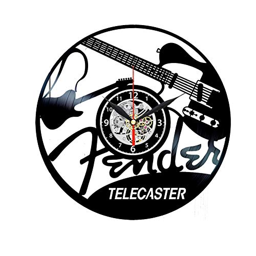 Fender Telecaster - Reloj de pared de vinilo negro para guitarrista