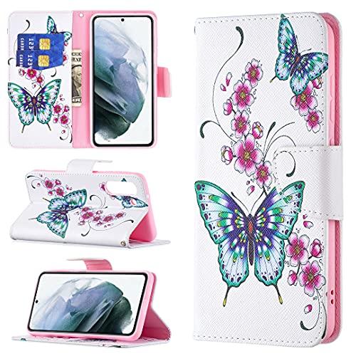 HSRWGD Galaxy S21 FE Funda con tapa para Samsung S21 FE Funda cartera, funda antigolpes, suave TPU (mariposa)