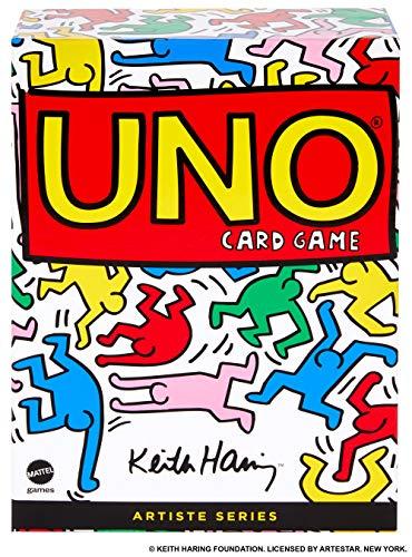 Mattel Games-Uno Versione Ispirata a Keith Haring, Gioco di Carte, GDG39