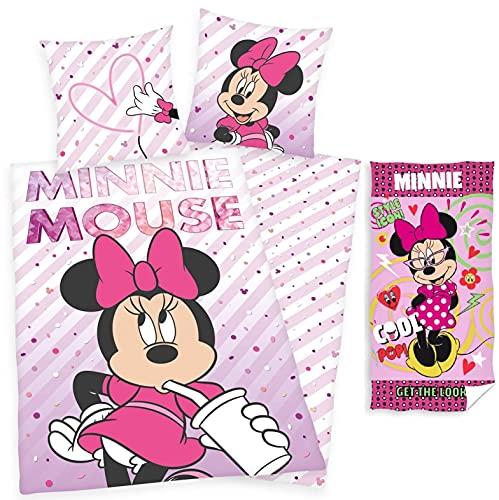 rainbowFUN.de Herding Disney Minnie Mouse - Juego de ropa de cama reversible (135 x 200 cm, toalla de baño, 70 x 140 cm, algodón)