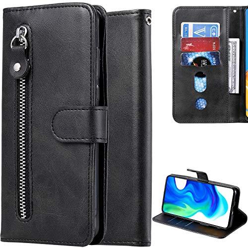 DodoBuy Reißverschluss Hülle für Xiaomi Mi A2 Lite, Magnetische Flip PU Leder Schutzhülle Zipper Handy Tasche Hülle Cover Brieftasche Wallet mit Silikon TPU Kartenfächer Stand - Schwarz