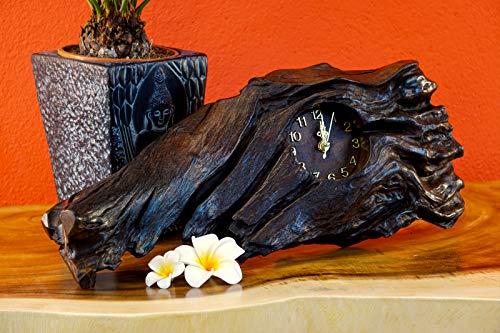 Reloj de mesa de madera de raíz de teca, 18 cm, de madera de raíz