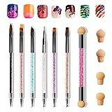 Anself 6 PZ Pennelli Unghie Doppia Testa per Nail Art,1 PZ Doppia Punta Spugna Pennello per Unghie...