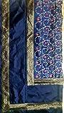 Marusthali Indische Banarasi Tagesdecke Designer Stickerei Seidenbrokat Arbeit - Reine Seide mit Kissenbezüge (Navy blau)