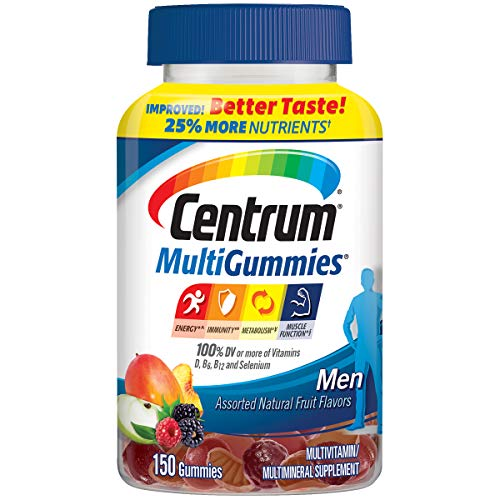 Centrum Men Multigummies Multivitamin/ Multimineral Supplement Gummies (Natural Cherry, Berry & Apple Flavor, 150Count) (Package May Vary)
