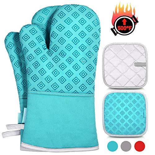 Homemaxs Ofenhandschuhe und Topflappen Set, 250℃ Hitzebeständige Anti-Rutsch Topfhandschuhe, Geeignet für Kochen, Backen, Grillen
