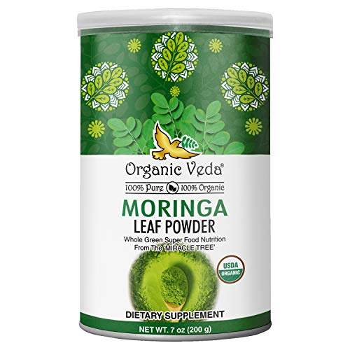 Organic Veda Moringa Powder – 100% Pure and Organic USDA Certified Moringa Leaf Powder for Overall Health – Non-GMO Whole Green Super Food Nutrition to Boost Metabolism & Immunity, 7oz