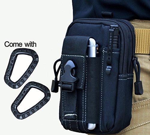 Wynoz Noir Nylon 1000d résistant résistant Sac à dos tactique Molle EDC Pouch universel Casual Outdoor Gear kit de transport Capacité Outil Ceinture Banane Clip ceinture pour iPhone 6S Plus Samsung Note 5