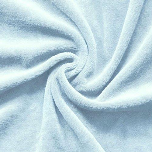 STOFFKONTOR Nicki Baumwollstoff Stoff - kuschelweicher Wohlfühlstoff, Kinderstoff - Meterware, Baby-blau - zum Nähen von Kinderkleidung, Hausanzügen, Kissen