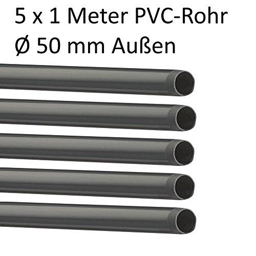 EXCOLO PVC Rohr und Rohrverbinder Ø 50 mm Winkel Kniestück Muffen T-Stück Kappen Fittings (5 x Rohr 1 Meter)