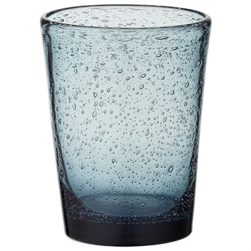 Trinkglas Mundgeblasenes Bubble Glas Lufteinschlüsse 10 cm 27cl Wasserglas dunkel Blau