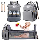 3 in 1 Diaper Bag Backpack with Changing Station, NIUTA 2021 Travel Bassinet Foldable Baby Bed with Insulated Pocket, Baby Bag Portable Crib, Large Capacity, Waterproof (Gray)