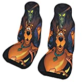 Wmake Daily Street 2 Pcs Car Seat Covers Set Scooby-Doo,Vehicle Front Seat Protector Auto Interior Accessories Protetors Car Mat Covers Universal fit Most Car SUV Van Truck