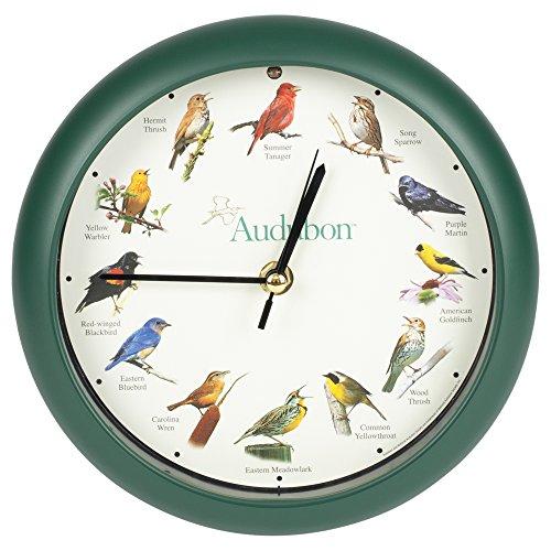 Mark Feldstein & Associates Audubon Singing Bird Wall/Desk Clock, 8 Inch