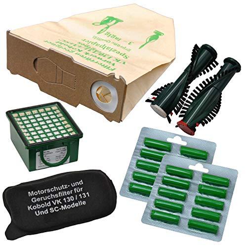 FSProdukte 20 Staubsaugerbeutel, Filterset, 20 Duftstäbchen Sommerwiese, Ersatzbürsten, geeignet für Vorwerk Kobold VK 130 131 131SC mit EB 350 351