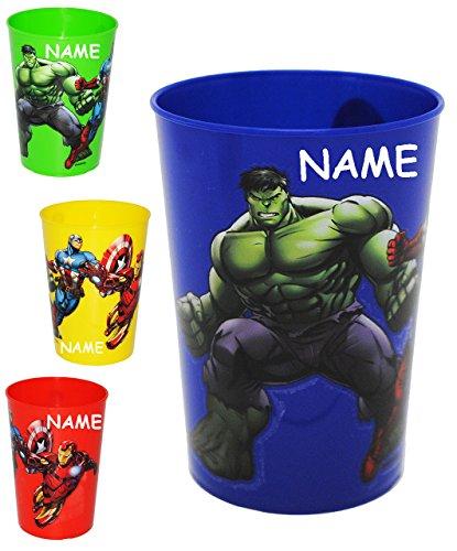alles-meine.de GmbH 4 Stück _ 3 in 1 - Trinkbecher / Zahnputzbecher / Malbecher - Becher -  The Avengers Assemble  - incl. Name - 280 ml - Trinkglas aus Kunststoff Plastik - fü..