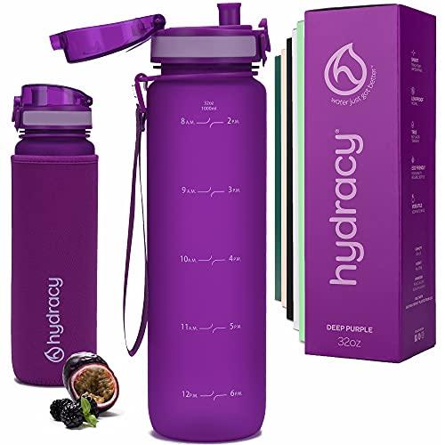 Hydracy Trinkflasche mit Infuser und Zeitmarkierung - 1Liter BPA-Frei Auslaufsicher Sportflasche - Kondenswasserfrei Wasserflasche - Ideal für Sport und Outdooraktivität - Lila