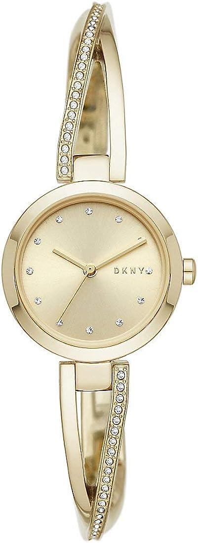 DKNY Crosswalk 3-Zeiger-Uhr aus goldfarbenem Edelstahl NY2830