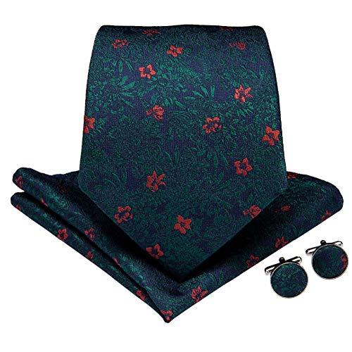 WOXHY Cravate Homme Classique Bleu Rouge Floral pour Hommes Boutons De Manchette Hanky Cravates Cravate en Soie Business Wedding Party Cravate Ensemble