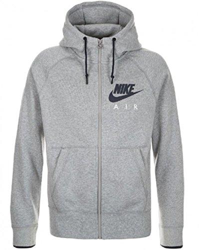 Nike AW77–Sudadera con cremallera completa y capucha para hombre Gris darkgrey heather Medium