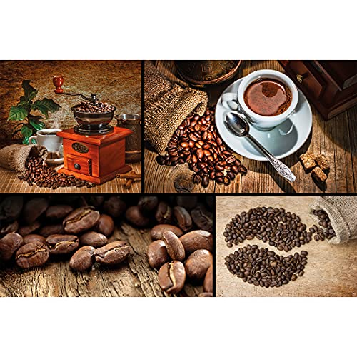 GREAT ART® XXL Poster – Kaffee Collage – Wandbild Dekoration 4er Bild Kaffeemühle Kaffeebohnen Kaffeetasse Cafe Motiv Küchendeko Coffee Barista Wandposter Wanddeko Wandgestaltung (140 x 100 cm)