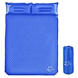 FRUITEAM Camping Sleeping Pad Self-Inflating Camping Pad Foam Sleeping Mat with Pillow Camping Mat for Backpacking, Traveling and Hiking, Blue