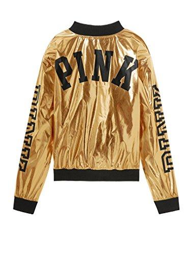 Victoria's Secret Pink Women's Metallic Bomber Jacket Metallic Gold Small