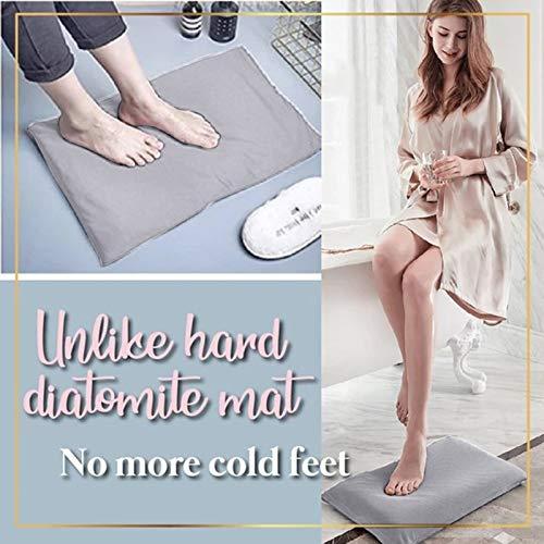 Alfombrilla de baño, de Diatom, natural, antideslizante, absorbente, de secado rápido, duradero, color sólido, moderno, suave, suave, 50 x 30 cm, 1 unidad