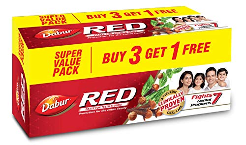 Dabur Red Paste - India's No.1 Ayurvedic Paste , Provides Protection from Plaque , Toothache , Yellow teeth , Bad Breath- 600 g (Buy 3 Get 1 Free)