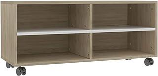 Bulufree Mueble de TV con Ruedas Mesa de televisión gabinete de TV Tablero aglomerado Roble Sonoma Blanco 90 × 35 × 35 cm