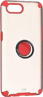 جراب خلفي قوي مفحم باربع زوايا مضاد للصدمات مع حواف سيليكون ملونة وحلقة معدنية لاوبو ريلمي C2 & اوبو ريلمي A1K - شفاف احمر