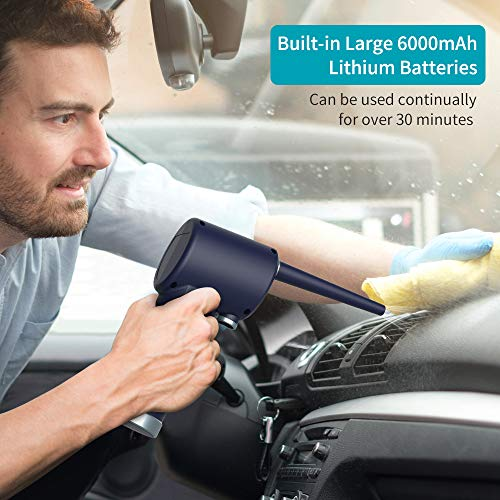 OPOLAR Cordless Air Duster for Computer Keyboard Cleaning- Portable, No Gas, Replaces Compressed Air Cans-Blue