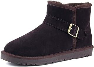JIANFEI LIANG Men's Women's Snow Boots Casual Antirust Metal Buttons Winter Faux Fleece Inside Home Shoes Casual (Color : Gray, Size : 37 EU)