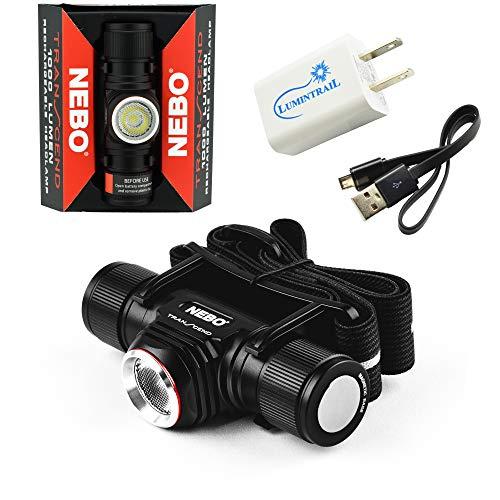 Nebo Transcend Headlamp Flashlight 1000 Lumen USB Rechargeable Headlight Bundle with a Lumintrail USB Wall Adapter