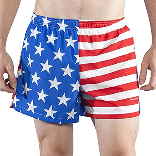 B.O.A Boa Mens Stretch 3.75' V-Notch Running Short US Flag (1102SWP) SIZE MD