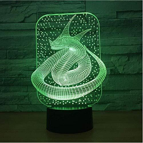 Snake King Bunte 3D-Lampe Led Acryl Visual Touch Nachtlicht Schöne 7 Farben Ändern 3D Lampe Freunde Spaß Geschenk