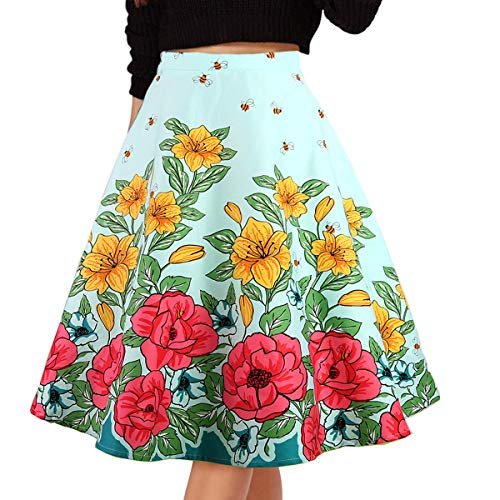 Musever Damen Falten Vintage Röcke Blumendruck Casual Midi Rock - Blau - X-Groß
