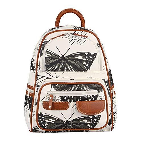 Damen Rucksack Tasche Backpack Schmetterling Leder Optik Cityrucksack Stadtrucksack Schultertasche Handtasche Shopper Daypack (Weiß-Schwarz)