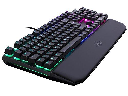 Cooler Master MasterKeys MK750, mechanische Gaming Tastatur (Cherry MX Brown, gepolsterte Handballenauflage, RGB-Beleuchtung, dedizierte Media-Tasten)