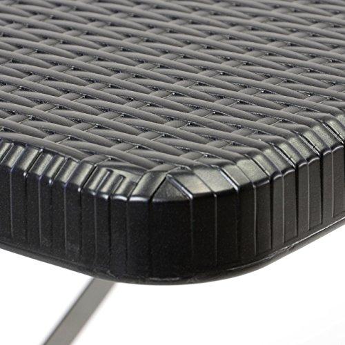 Partytisch Klapptisch Gartentisch Rattan-Optik 180 x 75 cm schwarz stabil Esstisch Buffettisch Tragegriff bis 170 kg - 2